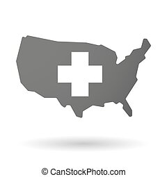 USA map icon with a pharmacy sign