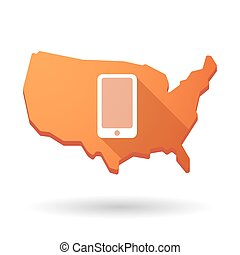 USA map icon with a phone