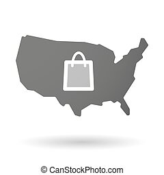USA map icon with a shopping bag