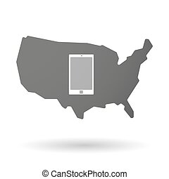 USA map icon with a smart phone