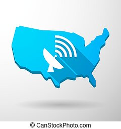 USA map icon with an antenna