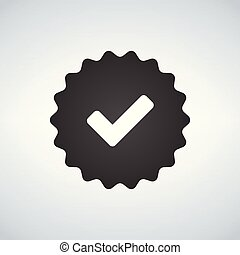 Illustration of an isolated vector badge icon with a check mark.