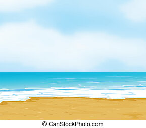 an ocean and a beach - illustration of an ocean and a beach...