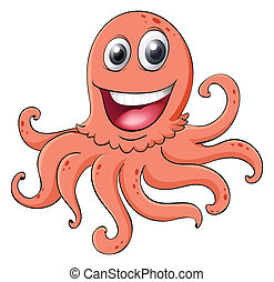 an octopus - illustration of an octopus on a white...