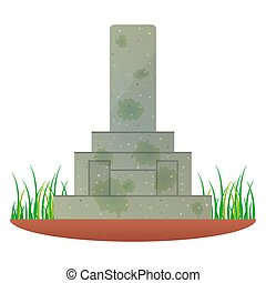 Illustration of an old and dirty Japanese tomb