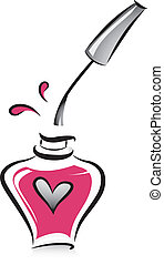 Illustration of an Open Bottle of Pink Nail Polish in Black and White with Pink Color Accent
