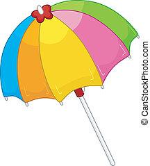 Beach Umbrella - Illustration of an Open Colorful Beach...