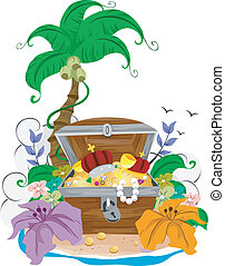 Treasure Chest - Illustration of an Open Treasure Chest