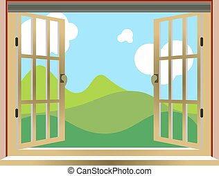 Illustration of an open window, nature view, cartoon,