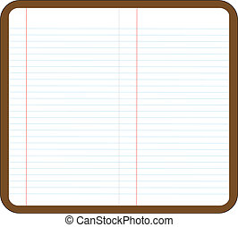 illustration of an opened note book with blank page