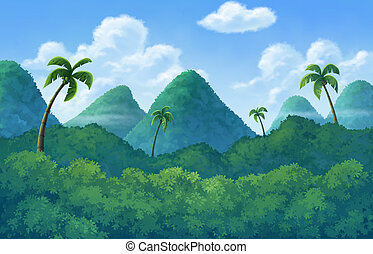 Illustration of an outdoor to have hill trees - The island...