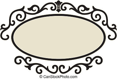 Illustration of an Oval Frame Surrounded by Decorative Swirls