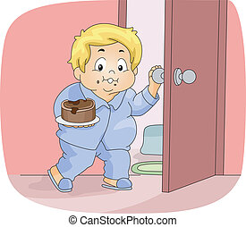 Illustration of an Overweight Boy Having a Midnight Snack