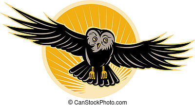 Owl flying front view - illustration of an Owl flying front ...