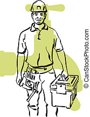 plumber - illustration of an plumber at work