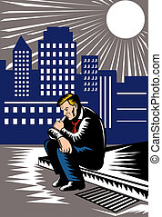 illustration of an Unemployed man sitting on the pavement