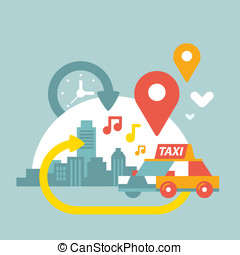 illustration of an urban life with taxi and geo location -...