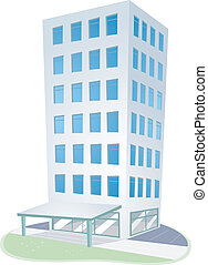 Illustration of an Urban Scene Featuring a High Rise Condominium