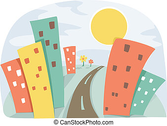 Illustration of an Urban Scene with colorful and Tall Buildings under the Sun