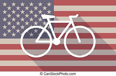 USA flag icon with a bicycle