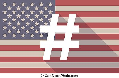 USA flag icon with a hash tag