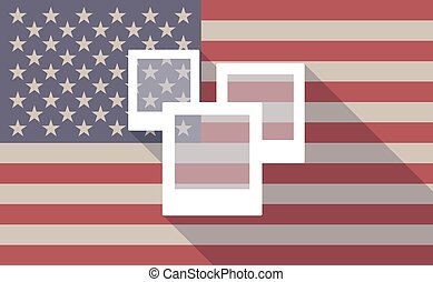 USA flag icon with a photo bunch