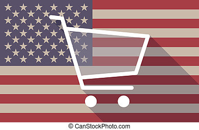 USA flag icon with a shopping cart