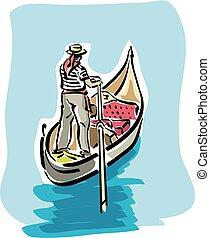 Venetian gondola - illustration of an Venetian gondola