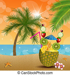 Ananas with fruits on the beach