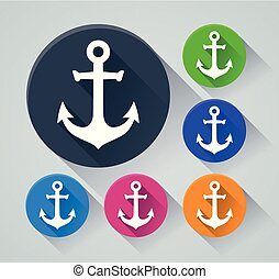 anchor circle icons with shadow