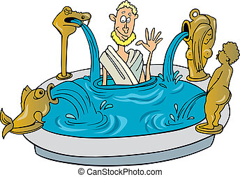 Illustration of Ancient citizen of Rome taking bath