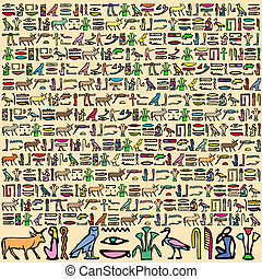 Egyptian Hieroglyphics - Illustration of Ancient Egyptian...
