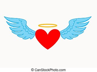 Illustration of Angel Heart and Wings isolated on a white background.