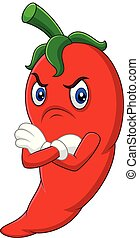 Angry chili pepper cartoon