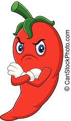 Angry chili pepper cartoon