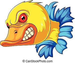 Angry duck head mascot