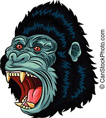 Illustration of Angry gorilla head - Vector illustration of...