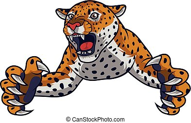 Angry leaping leopard - illustration of Angry leaping...