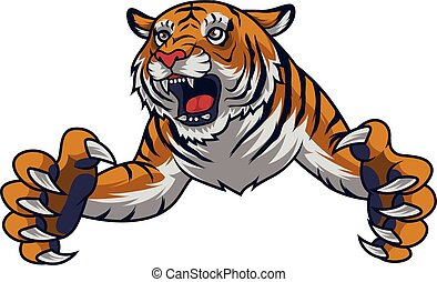 Angry leaping tiger