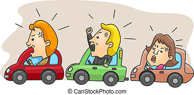 Angry Motorists - Illustration of Angry Motorists Caught in...