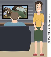 illustration of angry wife and husband addicted to video games