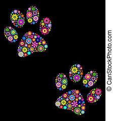 animal paw - Illustration of animal paw on black background