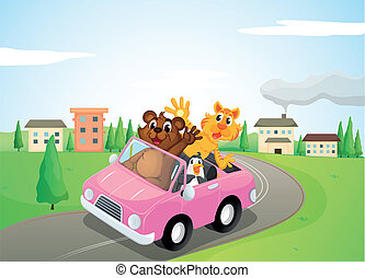 animals in a car