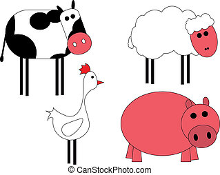 animals of farm - illustration of animals of farm