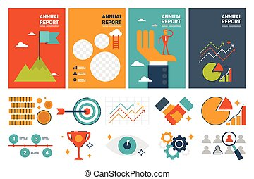 annual report cover A4 sheet template and flat design icons elements