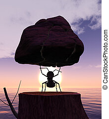 Illustration of ant lifting a rock and sunset