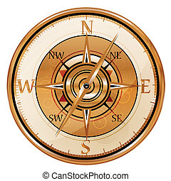 illustration of antique compass on isolated background
