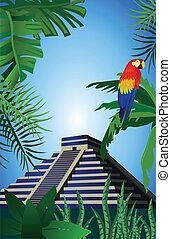 Mayan Pyramid - Illustration of antique Mayan Pyramid and a...
