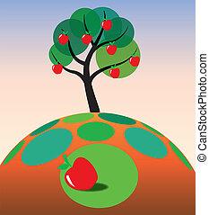 apple tree on grass