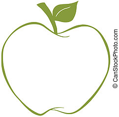 Apple With Green Outline